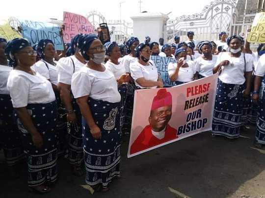 Imo women protest abduction of Catholic bishop, demand release