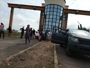 Some protesters at the Osun State House Complex in Osogbo