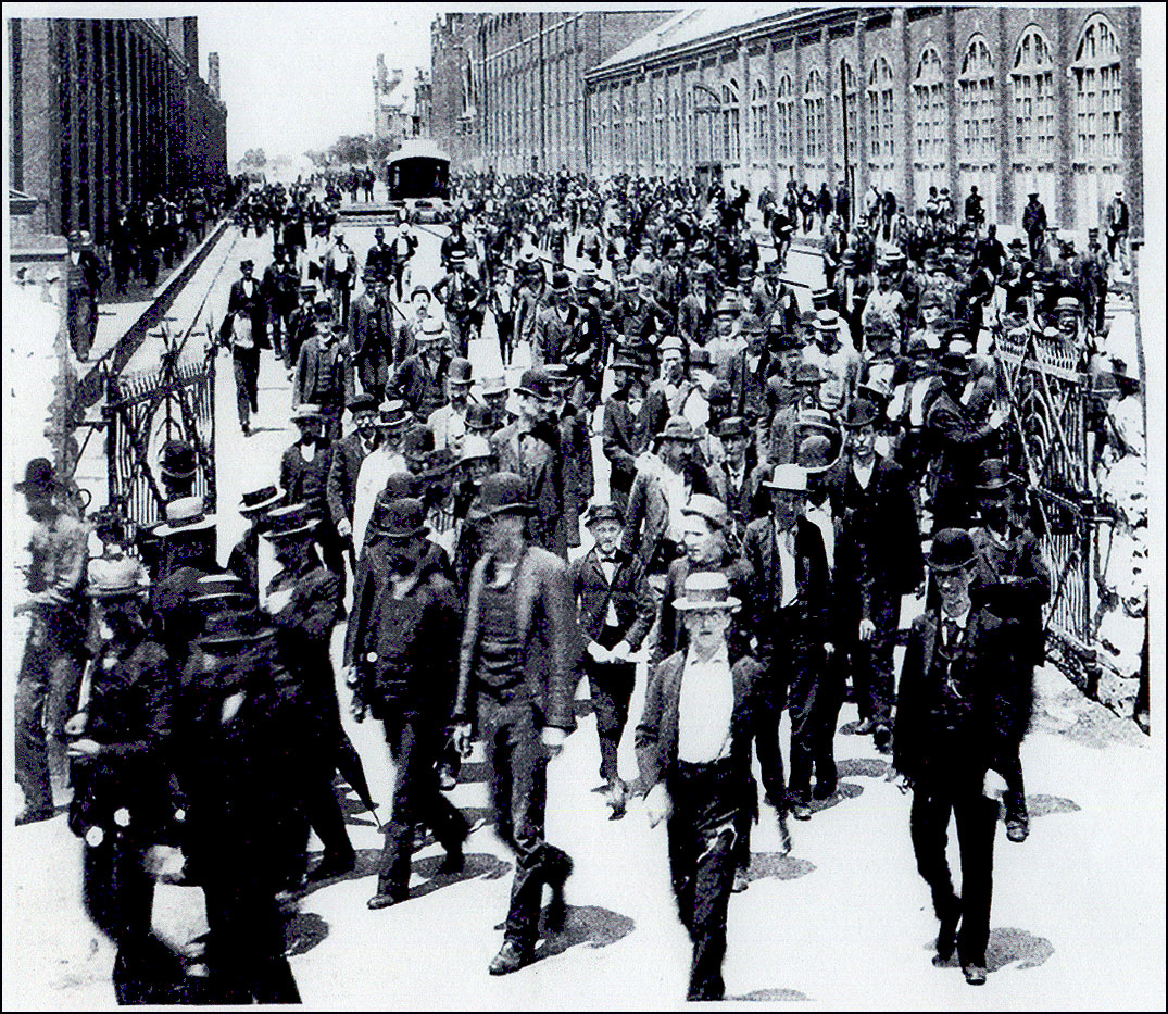 Pullman Palace Car Company workers walk out of the production factory, marking the beginning of the Pullman Palace Car Company Boycott in 1894