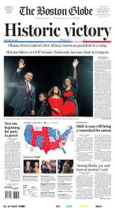 Boston Obama Election Victory Newspaper
