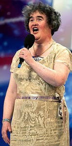 Susan Boyle wowing Simon Cowell while singing I Dreamed a Dream on Britains Got Talent 2009 TV Show