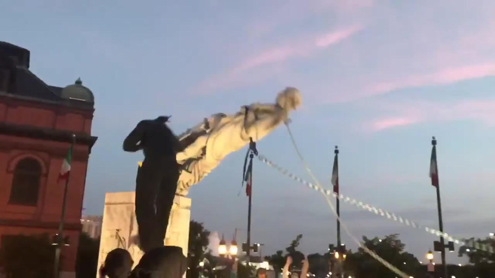 Baltimore Protesters Toppled A Christopher Columbus Statue