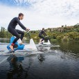Hydrofoil Bike by Manta5 is a water bike that features a silent electric motor designed for lakes, rivers, and ocean use.