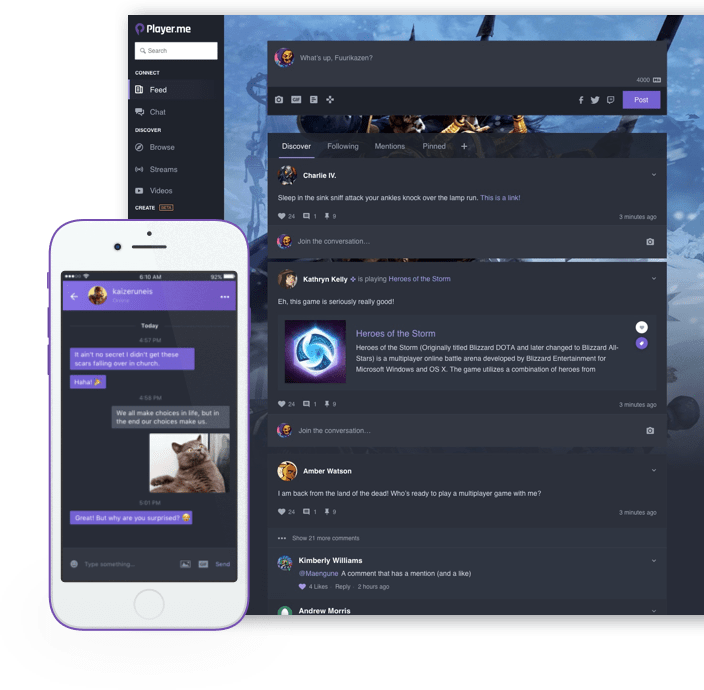 Player.me is a video streaming and social media tool that helps players create better live video streams.