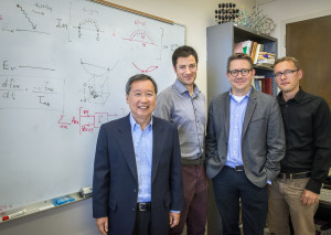(From left) Steve Louie, Marco Bernardi, Jeff Neaton and Johannes Lischner developed the first ab initio method for characterizing hot carriers in semiconductors. (Photo by Roy Kaltschmidt)