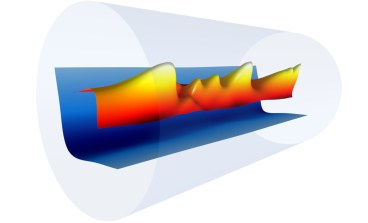 """Image - A snapshot of a plasma channel's electron density profile (blue) formed inside a sapphire tube (gray) with the combination of an electrical discharge and an 8-nanosecond laser pulse (red, orange, yellow). This plasma channel was used to guide femtoseconds-long """"driver"""" laser pulses from the BELLA petawatt laser system, which generated plasma waves and accelerated electrons to 8 billion electron volts in just 20 centimeters. (Credit: Gennadiy Bagdasarov/Keldysh Institute of Applied Mathematics; Anthony Gonsalves and Jean-Luc Vay/Berkeley Lab)"""