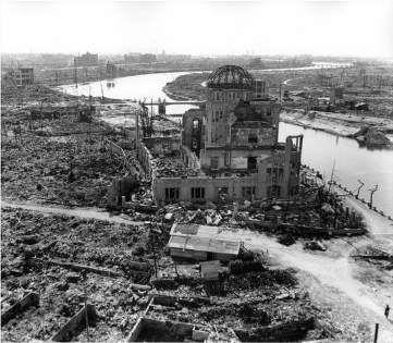 Photo - TThis 1945 photo shows the destruction of the A-bomb blast in Hiroshima, including damage to the domed structure known as the Atomic Bomb Dome, Genbaku Dome, and Hiroshima Peace Memorial.