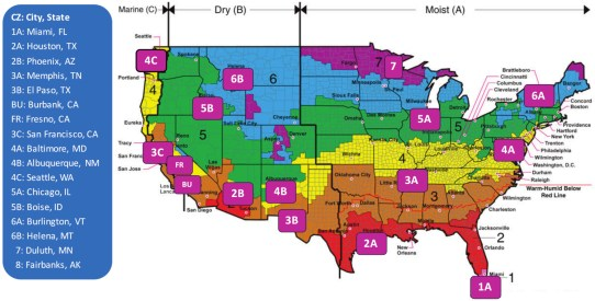 U.S. climate zones map