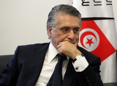 Tunisian media magnate and would-be presidential candidate is pictured after submitting his candidacy to Tunisia's electoral commission