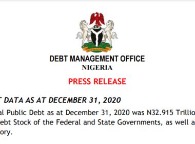 Public Debt in Nigeria Rose to N32.9tn in Dec 2020