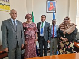 At the ministry of finance with Mr Dejene Demissie (L), Principal Country Programme Officer and Officer in Charge (OiC) and Mr Jacob Oduor (R), Chief Country Economist, Tanzania Country Office