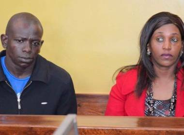 Jane Muthoni and her co-accused Isaac Ng'ang'a in court