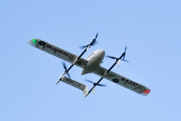 image of a Skyports drone flying over Argyll and Bute