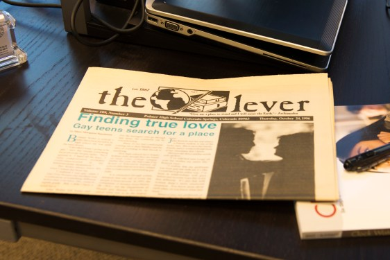 "A copy of ""The Lever"" from 1996 featuring the article ""Finding True Love: Gay Teens Search for a Place"" as found on Vince Puzick's desk in Denver, Tuesday, Feb. 17, 2015. The article gained controversy when published because it described, for the first time, the difficult lives led by gay Palmer High School students. (Photo/Natalia Bayona)"