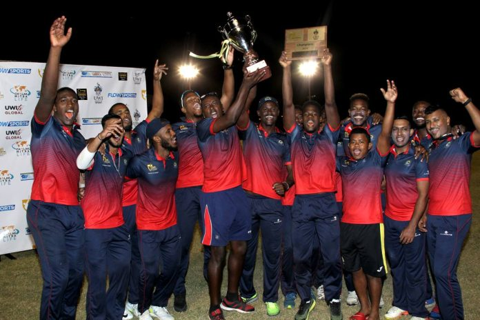 Combined Campuses and Colleges players celebrate victory in the UWI World Universities T20 final yesterday at the Sir Frank Worrell Ground, St Augustine. PHOTO BY ROGER JACOB