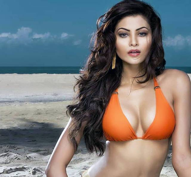 urvashi rautela shares orange bikini pictures on beach