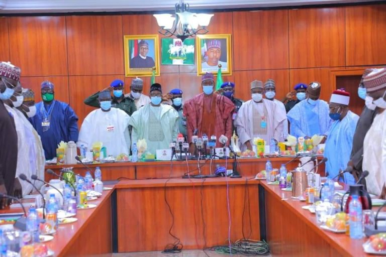 North East governors with traditional rulers during their meeting on insecurity