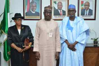 From left - Pro Pro-Chancellor, Usmanu Danfodiyo University, Sokoto, Hon. Justice Pearl Enejere (rtd), Group Managing Director of the Nigerian National Petroleum Corporation, Malam Mele Kyari and the University's Vice Chancellor, Professor Lawal Suleiman Bilbis, during a meeting at the NNPC Towers, Abuja..
