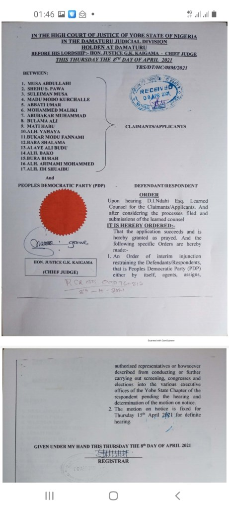 Save PDP in Yobe State now! By Abubakar Saidu Newsdiaryonline