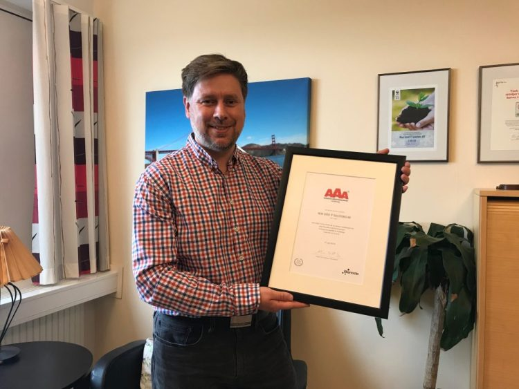 Magnus Lindgren på NewSeed tar emot AAA-diplom