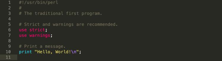 """Ett """"Hello World""""-program skriver i Perl."""