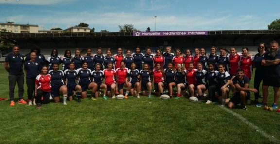 Equipe de stagiaires de Montpellier-et-le-staff-du-XIII-de-France-Feminin.j
