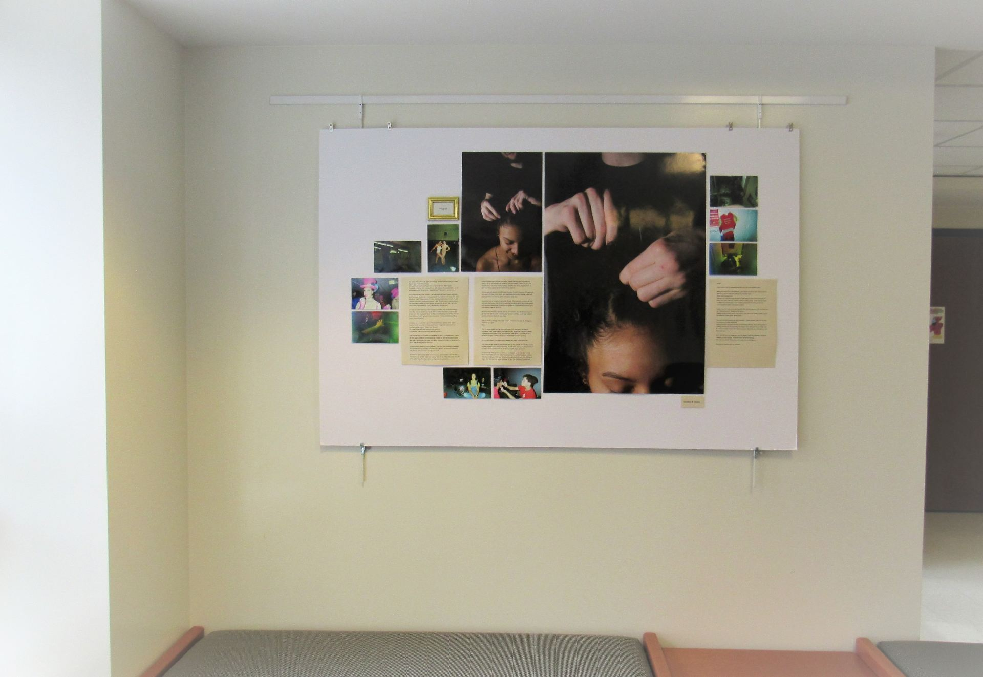 A picture of the third wall of the exhibit which shows a compilation of photographs and text.