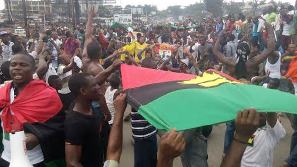 •Pro-Biafra activists during a rally.