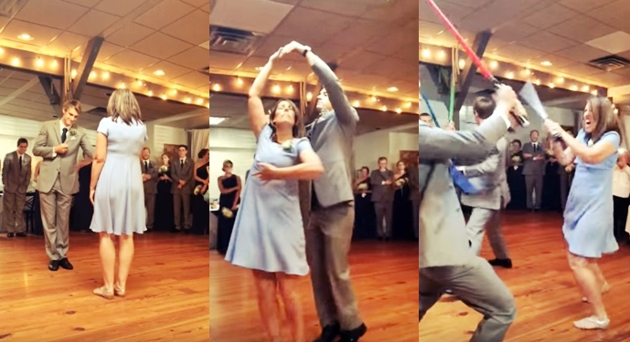 Mother And Son Perform Star Wars Themed Wedding Dance