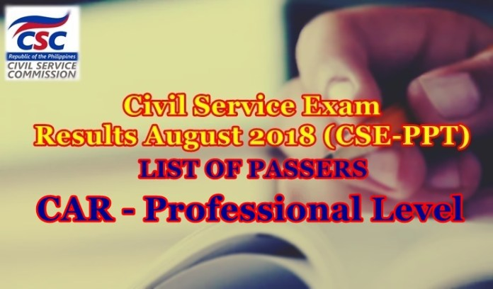 Civil Service Exam Results August 2018-CAR Passers