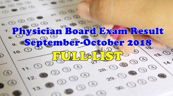 Physician Board Exam Result September-October 2018