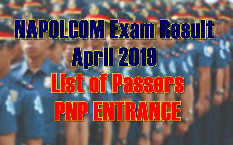 NAPOLCOM Exam Result April 2019 Passers - PNP ENTRANCE