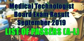 medical technologist passers a-l
