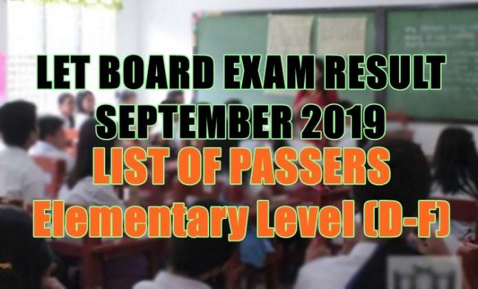 let board exam elem d-f