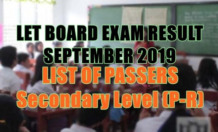 let board exam sec p-r
