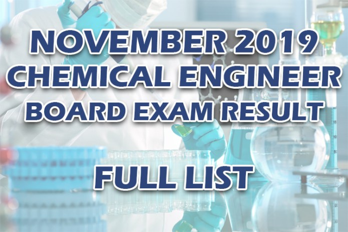 Chemical Engineer Board Exam Result November 2019