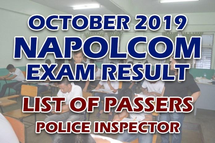 NAPOLCOM Exam Result October 2019