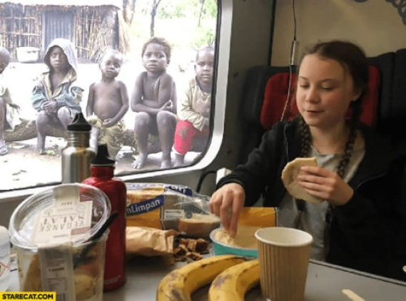 Greta Thunberg eating and drinking