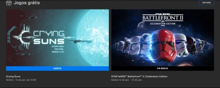 Seleção de jogos Gratuitos Epic Games