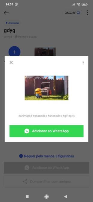 adicionando figurinha animada ao WhatsApp