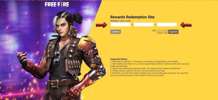 Resgatar Codiguin no Free Fire site Reward FF