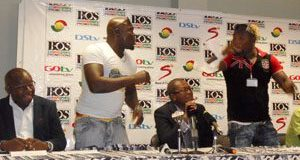 Sunkwa-Mills (L) Banku, Zwennes, Powers and Ntiamoah at the press conference