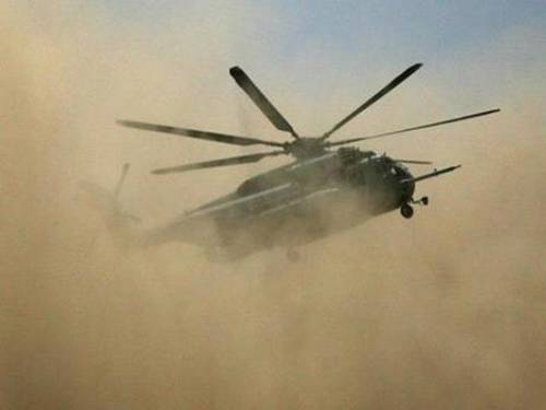 A chopper upon lift off