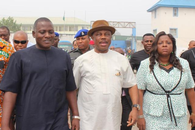 Hon Oseloka Obaze, Secretary to the State Government, Chief Innocent Chukwuma, Chairman, Innoson Vehicle Manufacturing Company, Chief Willie Obiano, Governor of Anambra State and Prof. Kate Omenugha, Commissioner for Information during a tour of Innoson Vehicle manufacturing Plant in Nnewi...Monday