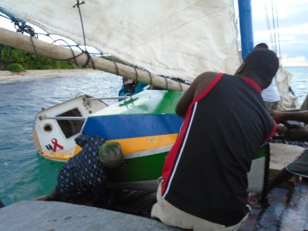 The Spirit of Malabo boards Ms. Diana for a 40 nm tow from Turtle Island, Haiti to the Port of Cap Haitian. The Brazilian built ocean rowboat arrives this week in Miami by Haiti Shipping Lines.