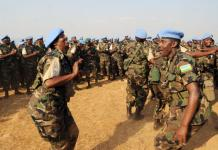 RDF soldiers dance after returning from a peacekeeping mission in Darfur in 2013. (File)