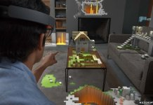 Microsoft showed off an augmented reality version of Minecraft as part of its HoloLens demo