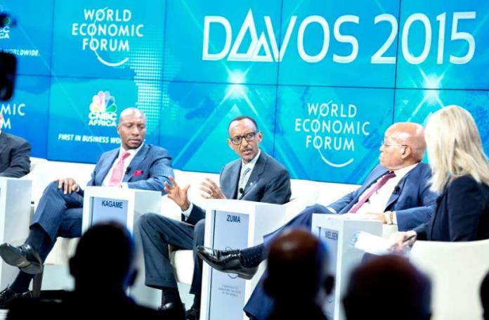 President Kagame in a panel discussion under the topic, ?Achieving Africa?s Growth Agenda,?? at the ongoing World Economic Forum Annual General Meeting in Davos, Switzerland, yesterday. The panel included Onyema (L) and Zuma (2ndR). (Village Urugwiro)