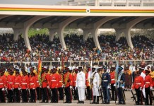 The honor guards attend the Independence Day parade at the Independence Square in Accra, Ghana, on March 6, 2015, marking the 58th anniversary of Ghana's Independence. British colony Gold Coast declared her independence on March 6, 1957 and renamed herself Ghana. (Xinhua/Lin Xiaowei)