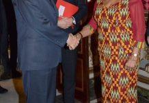Mrs Anim Addo (Right) in a handshake with President Mattarella